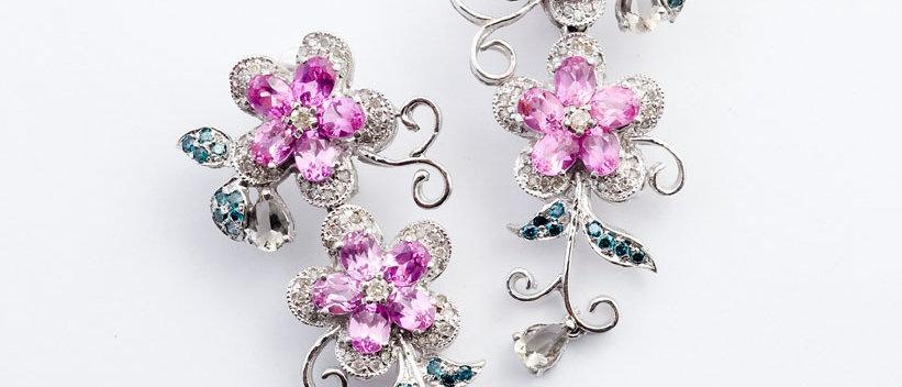 Pink Sapphire Floral Earrings