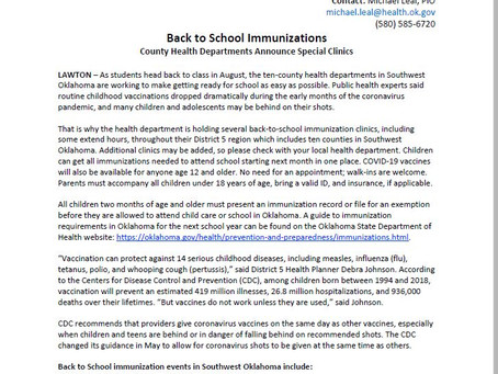 Health Dept to offer special PODs for Back to School Vaccinations