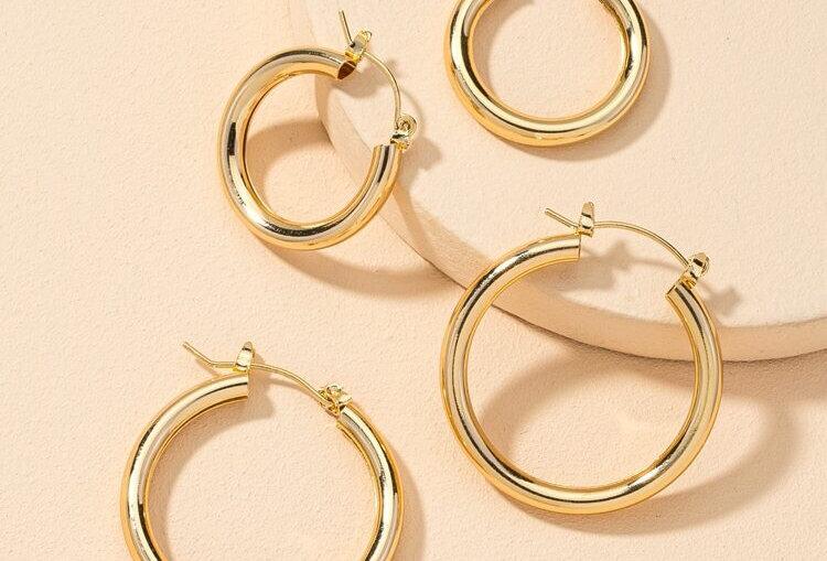 Simple Hoop Earrings - Set of 2