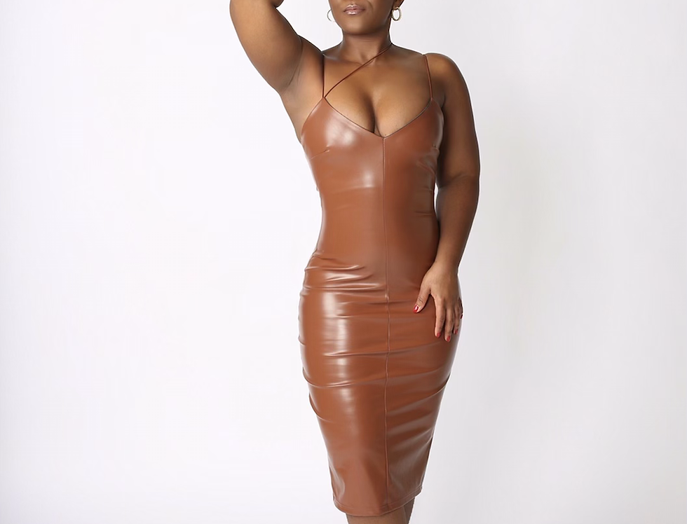 Painted On - Brown Leather Dress