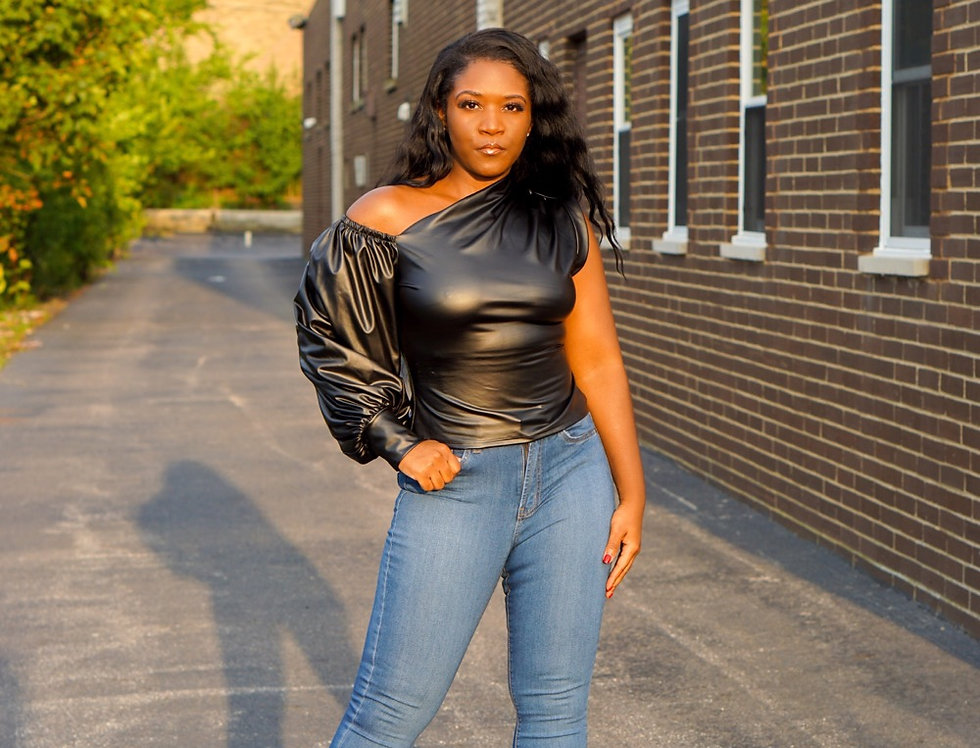 Leatherette Night Out - One Shoulder Top