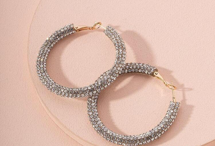 Rhinestone Decor - Hoop Earrings