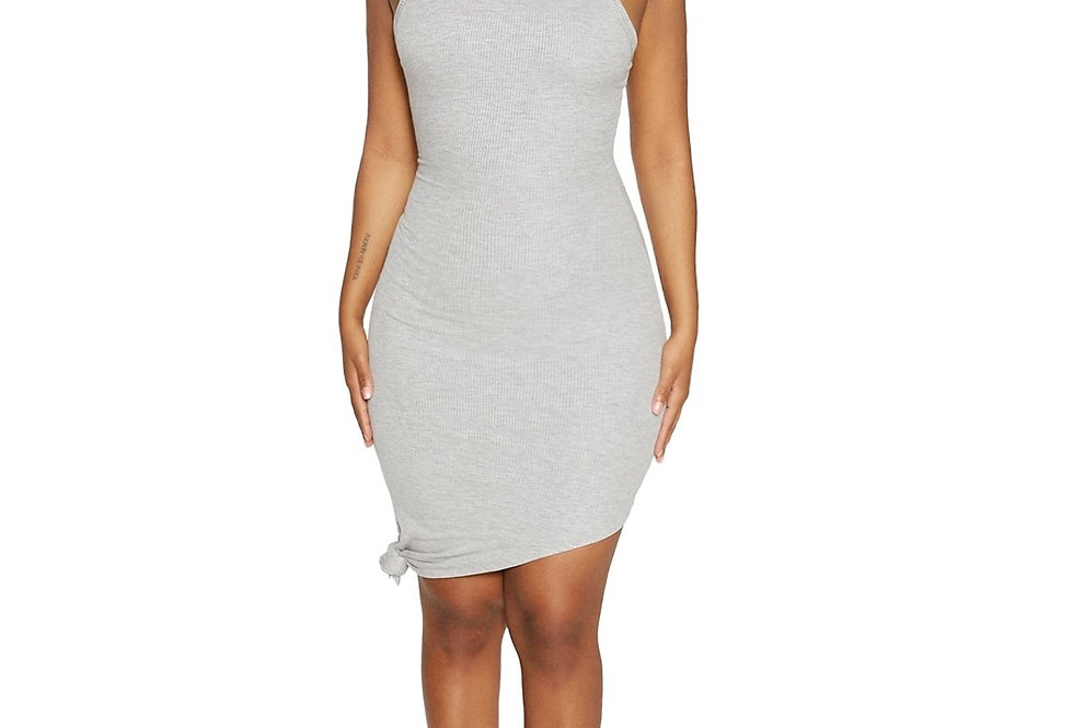 Knot Right Now   Grey Ribbed Dress