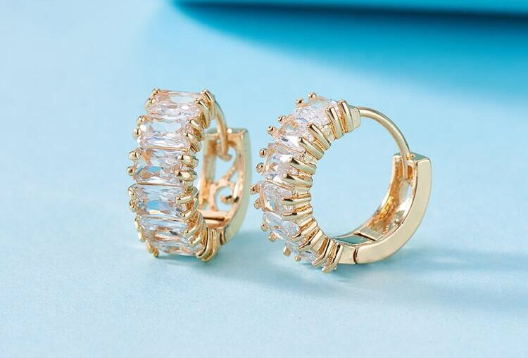 The Baguette - Diamond Baby Hoops