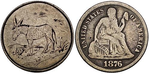 100946  |  UNITED STATES. Donkey in Desert silver Love Token.