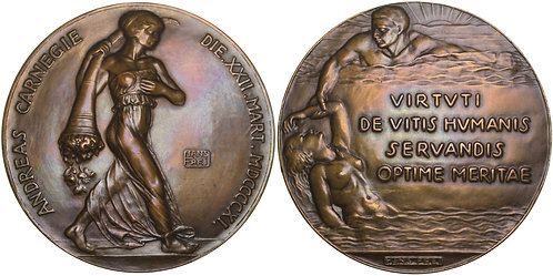 100621  |  UNITED STATES & SWITZERLAND. Carnegie Hero Fund bronze award Medal.