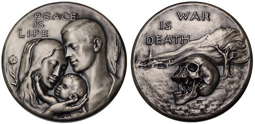 100115  |  UNITED STATES. Peace is Life — War is Death silvered bronze Medal.