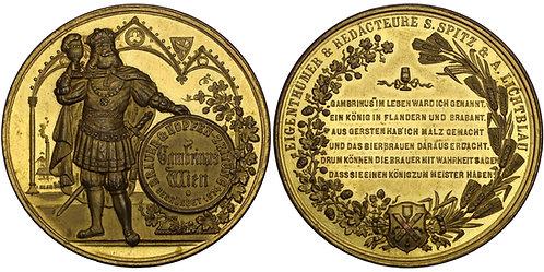 100388  |  AUSTRIA. Wien (Vienna). Gambrinus gilt bronze Medal.