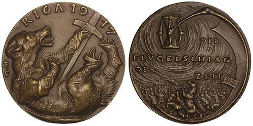 100858     GERMANY, RUSSIA & LATVIA. Satirical cast bronze Medal.