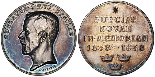 101700     UNITED STATES & SWEDEN. 300th Anniversary of New Sweden silver Medal.