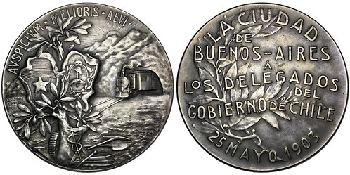 101714  |  ARGENTINA & CHILE. Railroad silvered bronze Medal.