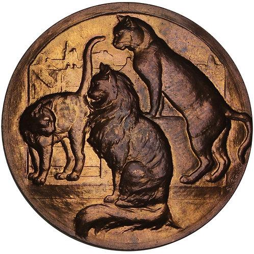 100910     FRANCE. Cat Club bronze uniface Medal.