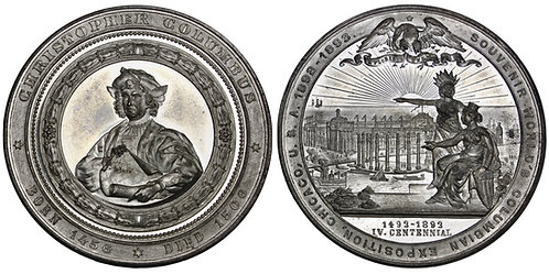 101656     UNITED STATES. Christopher Columbus/Columbian Expo white metal Medal.