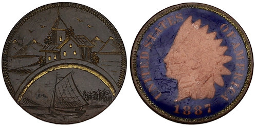 101104  |  UNITED STATES. Coastal chateau/sailboat enameled copper Love Token.