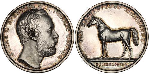 100404  |  SWEDEN. Oscar II silver horse breeding Award Medal.