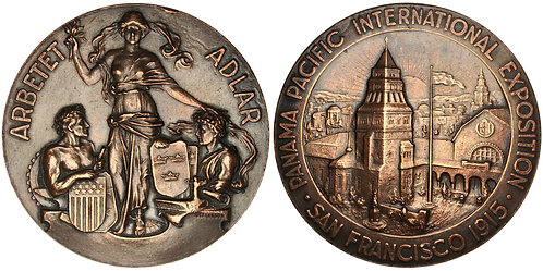 101323  |  UNITED STATES & SWEDEN. Pan-Pac Expo bronze Medal.