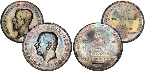 101653  |  SWEDEN. Royal Patriotic Society boxed set (2) of silver award Medals.
