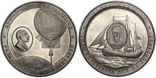 100653  |  SWEDEN & NORWAY. S. A. Andrée & F. Nansen white metal Medal.