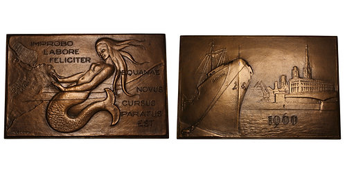 100243  |  FRANCE. Port of Rouen rectangular bronze Plaque.