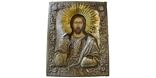 "101783  |  RUSSIA. ""Jesus Christ, Pantokrator"" wooden Icon."