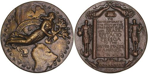 100499  |  UNITED STATES & BRAZIL. President Epitácio M. Pessoa bronze Medal.