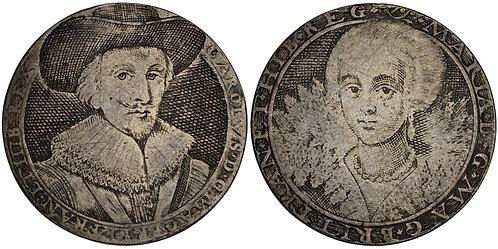 100659     GREAT BRITAIN. England. Charles I with Henrietta Maria silver Jeton.