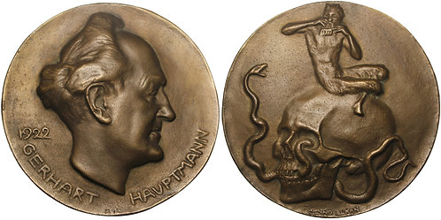 100940  |  GERMANY. Gerhart Hauptmann cast bronze Medal.