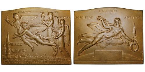 100416  |  BELGIUM. Bruxelles (Brussels). Art Deco bronze Plaque.