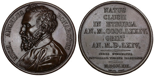 101336  |  ITALY & FRANCE. Michelangelo bronze Medal.