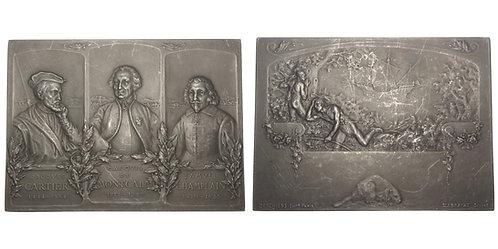 100921  |  CANADA & FRANCE. Cartier, Montcalm & Champlain aluminum Plaque.
