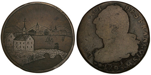 100997  |  FRANCE. Veduta with Stone Bridge and Sailboat copper Love Token.