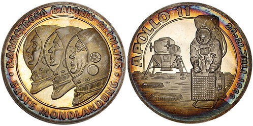 100925  |  UNITED STATES & GERMANY. Apollo 11 silver Medal.