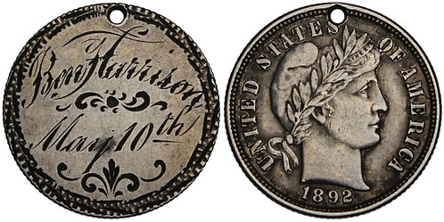 100991  |  UNITED STATES. Ben Harrison/May 10th silver Love Token.