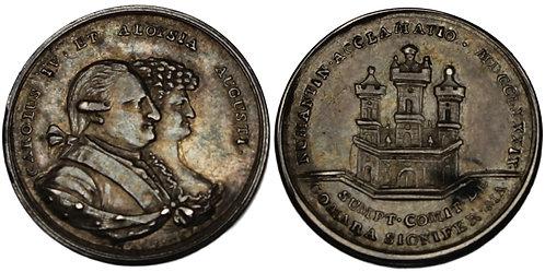 100361  |  MEXICO. Carlos IV with María Luisa silver Proclamation Medal.