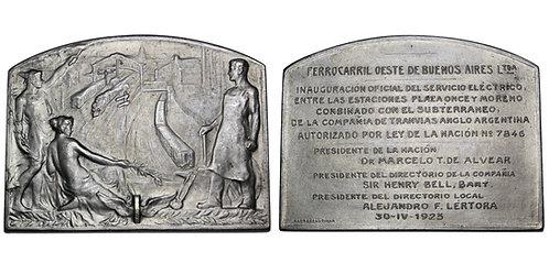 101721  |  ARGENTINA. Railroad silvered bronze Plaque.