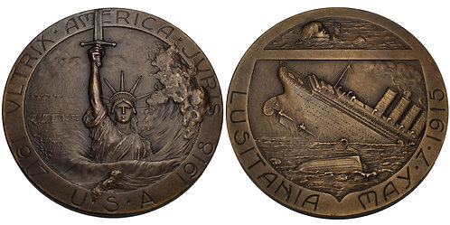 100183  |  UNITED STATES & FRANCE. Bronze Medal. The Sinking of the Lusitania.