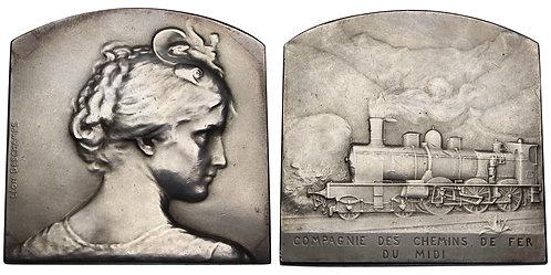 100538  |  FRANCE. Compagnie des Chemins de fer du midi silver Plaque.