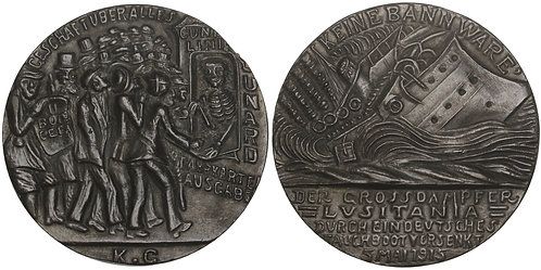 100722  |  UNITED STATES & GERMANY. Sinking of the Lusitania pewter Medal.