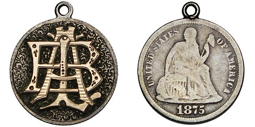 101451  |  UNITED STATES. A–B–L gilt appliqué on engraved silver 10 Cents.