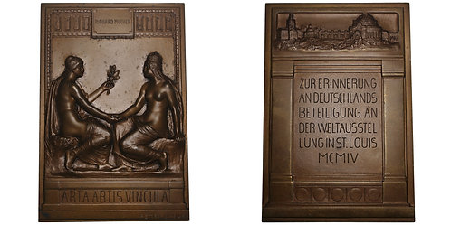 100395  |  UNITED STATES & GERMANY. St. Louis World's Fair bronze Plaque.