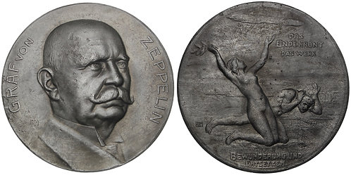 100835  |  GERMANY. Ferdinand Adolf Heinrich August Graf von Zeppelin zinc Medal