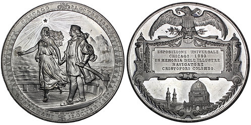 101655  |  UNITED STATES & NETHERLANDS. Christopher Columbus white metal Medal.