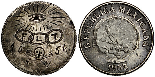 101353  |  UNITED STATES. Guys Mills, PA. Odd Fellows engraved 10 Centavos.