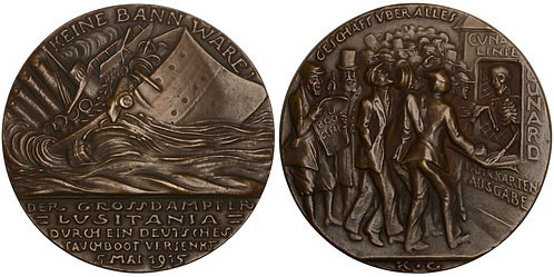 100919  |  UNITED STATES, GREAT BRITAIN & GERMANY. Lusitania cast bronze Medal.