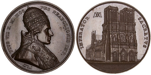101490     FRANCE & ITALY. Paris. Notre-Dame Cathedral/Pius VII bronze Medal.