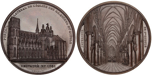 101025  |  BELGIUM. Bruxelles. Cathedral of Sts. Michel & Gudule bronze Medal.