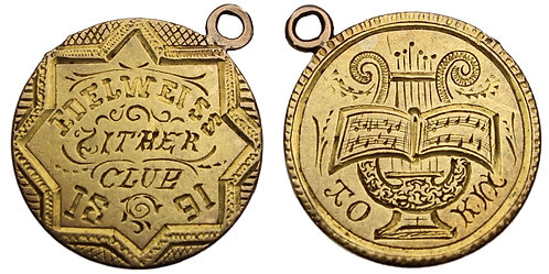 101055  |  UNITED STATES. Edelweiss Zither Club gold Love Token.