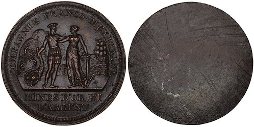 100820  |  MEXICO & FRANCE. Uniface bronze Mining Medal.
