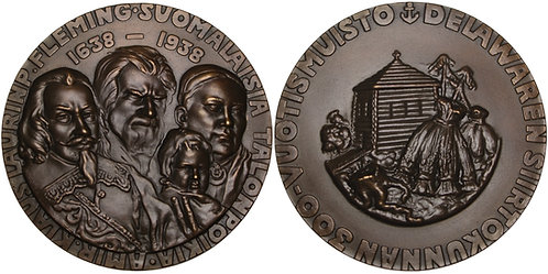 100335  |  UNITED STATES & FINLAND. Finnish Settlement in Delaware bronze Medal.