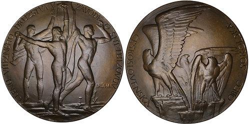 100424     CZECHOSLOVAKIA. Sokol Gymnastics bronze award Medal.